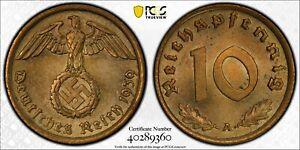 Germany 1939 A 10 Pfennig Eagle animal PCGS MS64 Third Reich. J-364 PC1086 combi