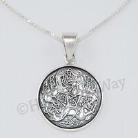"""EPONA Pendant 3 CELTIC HORSE Equine Goddess 18"""" Necklace STERLING SILVER 925"""