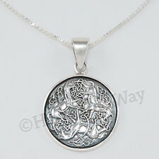 "EPONA Pendant 3 CELTIC HORSE Equine Goddess 18"" Necklace STERLING SILVER 925"