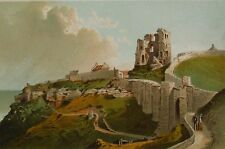 SCARBOROUGH CASTLE - Antique Chromolithograph Circa 1890