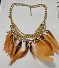 """Vintage 18"""" Feathers, Clear Beads & Gold Tone Chain Triple Tier Necklace"""