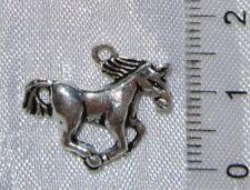 10 breloques perles CHEVAL au GALOP argenté 21mm DIY création bijoux B72