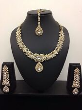 New Gold Bronze Necklace Earring Set Head Piece Jewellery Indian Bollywood