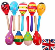 UK Wooden Ball Toy Sand Hammer Rattle Musical Instrument Percussion Baby Kid