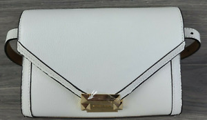 Michael Kors Fanny Pack Leather Envelope Belt Bag Handbag White L/XL NEW #74