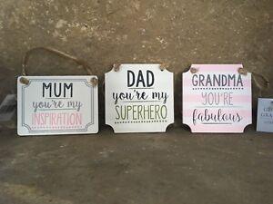 Gisela Graham wooden Mum Dad Grandma love inspiration sentiment sign 10cm