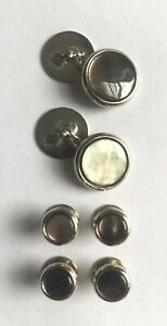 Brooks Brothers Gray / Grey Mother-of-Pearl Tuxedo Cufflinks & Studs, Orig $225
