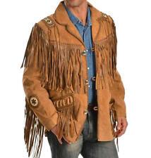 Vipzi Men's Western wear cowhide Suede Leather Jacket Fringe Bone beads All size