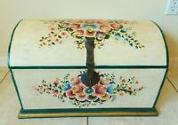 "Large Antique/Vtg 25"" Hand Painted FLOWER Solid Wood Wooden Hope Chest Box"
