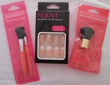 Travel Set Nail Artificial Plus Brushes Kabuki Cosmetic Mini Art Stick On Pack