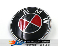 NEW BMW 82mm  Black and red Carbon Fiber Emblems Trunk Hood Badge Logo Set