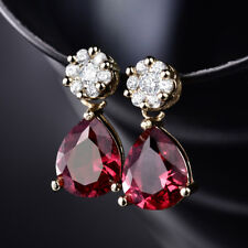 HUCHE Yellow Gold Filled Red Sapphire Ruby Gemstone Women Dangle Lady Earrings