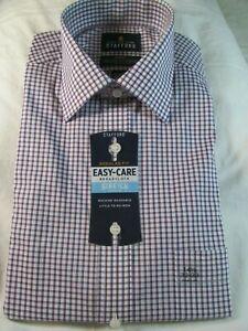 NWT STAFFORD EASY CARE BROADCLOTH STRETCH COMFORT DRESS SHIRT Burg. Blue Check