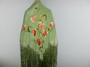 LG Piano Shawl Antique 1920s 1930s Flapper Canton Green Silk Embroidered