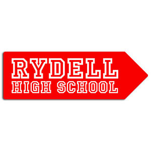 Metal Wall Sign - Rydell High School Grease Music Romantic Comedy Arrow Plaque