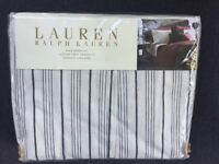 Ralph Lauren Home BLEECKER STREET King Size Bed Skirt Black Cream Striped NIP