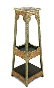 Moroccan Pedestal Table Shelf Tall Silver Copper Finish Authentic Home Decor