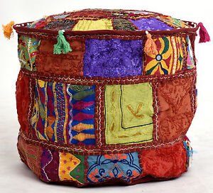 Repose-Pieds Housse Indien Handmade Traditionnel Décorative Patchwork Ottomane