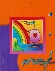 Peter Max, Sailboat with Heart on Blends 2007 #860 (Framed Original Painting)