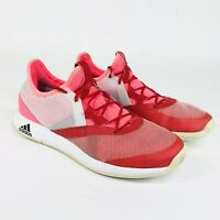 Adidas Womens Size 8 Pink Red White Adizero Defiant Bounce Tennis Shoes AH2112