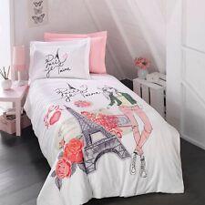 Paris Bedding Girls Duvet Cover Set, Eiffel Tower Themed Single/Twin Size, 4 PCS