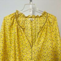Max Studio Large Top Shirt Popover Floral Blouse Yellow Ruffle Neck 3/4 Sleeve