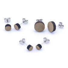 Wooden Ear Studs Plain Round Wood Earring Unisex 5mm - 10mm
