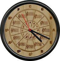 Musician Circle Of Fifths Minor Music Room Teacher Marquetry 5th Sign Wall Clock
