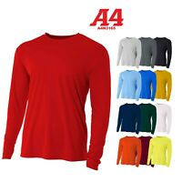 A4 Men's Moisture Wicking Tech Long Sleeve Resistant T-Shirt. N3165 UPF 44+ UV