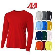 A4 Men's Moisture Wicking Tech Long Sleeve Resistant T-Shirt. N3165 UPF 44+ UV