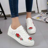 US Women's Embroidered Shoes Sport  Breathable Casual Outdoor Board Sneakers