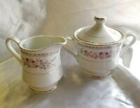 Vintage French Garland Fine China Creamer and Sugar Bowl Pink Roses Gold trim