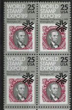 US 1989 Sc # 2410,World Stamp EXPO A. Lincoln Block 25c, Stamps on Stamps,VF MNH