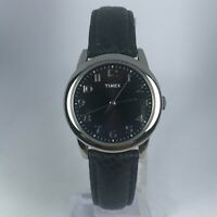 Timex Womens T2P080 Black Dial Black Leather Strap Analog Watch