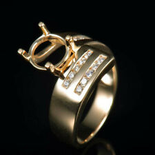 Round 8MM Natural Diamond SemI Mount Ring Promise Setting Solid 14K Yellow Gold