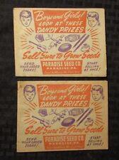 "Vintage 1950s? PARADISE SEED CO. Permium Prizes Catalog LOT of 2 VG 5.5x4.5"""