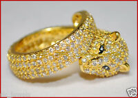 3.53ct NATURAL ROUND DIAMOND 14K SOLID YELLOW GOLD PANTHER RING IN SIZE 7 TO 9