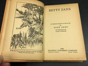 Vintage 1940 Book Betty Zane By Zane Grey Abridged Edition HCDJ worn