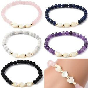 Crystal Gemstone Bracelet Chakra Bead Ladies Heart Charm Reiki Healing Anxiety
