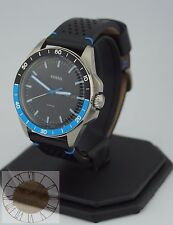 Mens's Fossil Watch, Sport 54 Black Leather Strap Watch FS5321, New