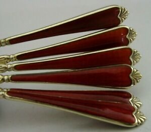 STUNNING CASED ENGLISH SOLID STERLING SILVER AND RED ENAMEL SPOONS 1956