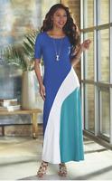 Ashro Tai Knit Cobalt White Teal Maxi Dinner Party Beach Cruise Dress Sz S M 1X
