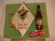 1958 Poc Beer Sign Cleveland Ohio Timely Products Des Moines Iowa Bottle Door Kn