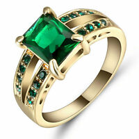 Size 9 Green Emerald Zircon Ring Women's 10Kt Yellow Gold Filled Wedding Band