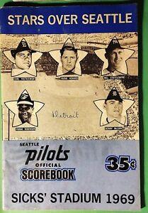 Vintage 1969 Stars Over Seattle Pilots Scorebook vs Detroit - Blue Version