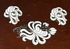 Vintage A. Dragsted Monster Beskyttet enamel sterling silver pin & earring SET!