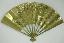 Vintage Solid Brass Oriental Style Hand Fan Dragon Phoenix Wall Decor Decoration