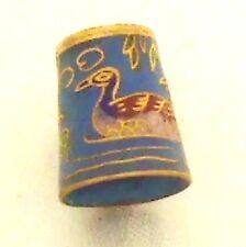 Foxglove Ducks 881en Cloisonné 24ct GILT THIMBLE Duck rélief Antique