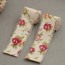 New 3M Craft Jute Burlap Hessian Ribbon Floral Print Fabric Vintage Wedding