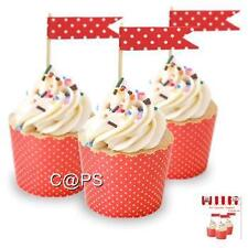 24 x Red and White Polka Dot Cup Cake Picks...Toppers...Rock N Roll